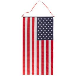 36 Wholesale Flag Banner On Dowel W/hanging Ribbon 16.25 X 30.875in/pat ht