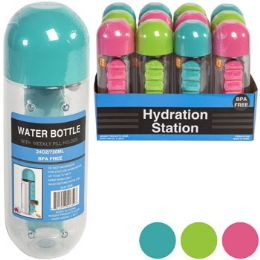12 Units of Water Bottle Built In 7day Pill - Pill Boxes and Accesories