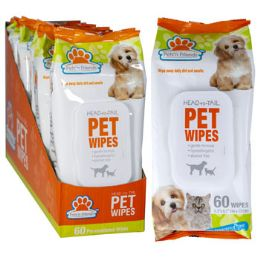 12 Wholesale Pet Wipes 60ct Fragrance Free
