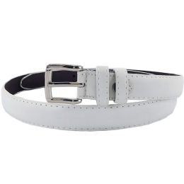 24 of Plain White 1 Inch Width Women Belt Assorted Sizes