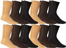 12 Units of Yacht & Smith Women's Cotton Diabetic Non-Binding Crew Socks, Size 9-11 Assorted Brown, Khaki, Navy - Women's Diabetic Socks