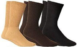 3 Units of Yacht & Smith Men's Cotton Diabetic Non-Binding Crew Socks - Size 10-13 Assorted Brown - Men's Diabetic Socks