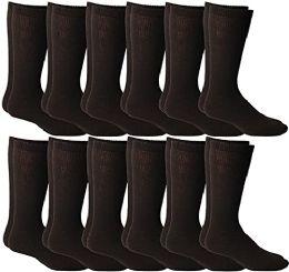 12 Bulk Yacht & Smith Men's Cotton Diabetic Non-Binding Crew Socks - King Size 13-16 Brown