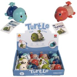 24 Wholesale Turtle Pull Back Toy 3 Asst Colors In 12pc Pdq/ht Age 3+