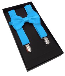 24 Units of Light Blue Suspenders And Bow Tie Set - Suspenders