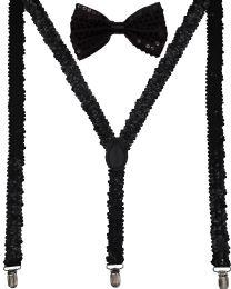 24 Units of Black Sequin Suspenders And Bow Tie Set - Suspenders
