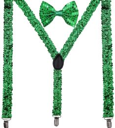24 Units of Green Sequin Suspenders And Bow Tie Set - Suspenders