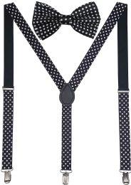 24 Units of Black Polka Dot Suspenders And Bow Tie Set - Suspenders