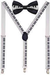 24 Units of Piano Suspenders And Bow Tie Set - Suspenders