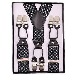 24 of Black With White Stripe Suspenders