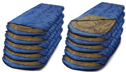 10 Units of Yacht & Smith Temperature Rated 72x30 Sleeping Bag Solid Blue - Sleep Gear