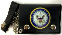 12 Units of Official Licensed Navy Circle Seal Tri Fold Leather Wallet - Leather Wallets