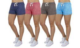 72 of Women's Soft Fleece Lounge Shorts Assorted Sizes In Light Blue