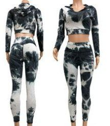 12 Units of Black and White Tie Dye Workout Cropped Top and Legging - Womens Active Wear