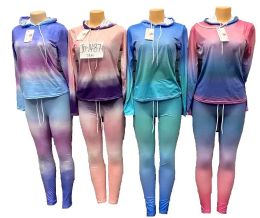 12 Units of Tie Dye Workout Yoga Clothes Sets - Womens Active Wear