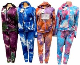 12 Units of Tie Dye Workout Clothes Zip Hoody Sets - Womens Active Wear