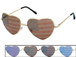 24 Units of Heart Shaped Metal USA Flag Sunglasses - 4th Of July