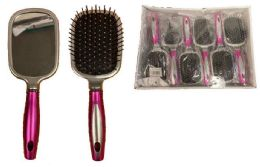 72 Bulk Hair Brush With Mirror At Back
