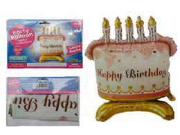 144 Wholesale Happy Birthday Cake Balloon W/ Stand