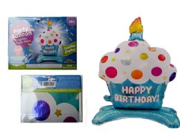 144 Wholesale Happy Birthday Cupcake Balloon W/ Stand