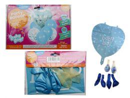 144 Wholesale 7pc Balloon Set Baby Boy