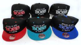 36 Wholesale Snap Back Flat Bill Jesus Is My Boss A Men Hat