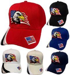 36 Wholesale Eagle with American Flag Baseball Cap