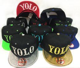 36 Wholesale Snap Back Flat Bill YOLO Assorted Color