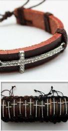 96 Wholesale Faux Leather Rhinestone Cross