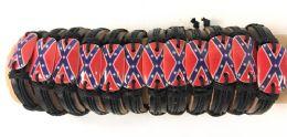 96 Wholesale Faux Leather Adjustable Bracelet With Rebel Flag Design