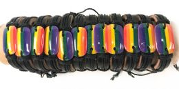 96 Wholesale Faux Leather Adjustable Bracelet with Rainbow Pride