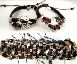 96 Wholesale Ying Yang Faux Leather Bracelet