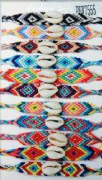 96 Wholesale Crochet With Shell Bead Bracelet