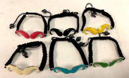 96 Wholesale Mustache Bracelet Assorted Colors