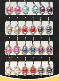 72 Wholesale Pearl With Rhinestone Stand Earring