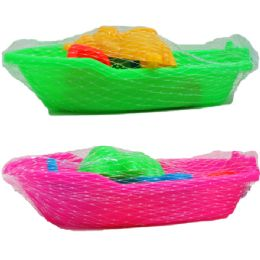 """72 of 7"""" BEACH TOY BOAT W/ACSS IN PEGABLE NET BAG, 2 ASSRT"""