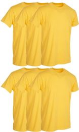 6 Wholesale Mens Yellow Cotton Crew Neck T Shirt Size Small