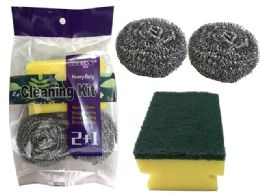 120 Units of 3pc Cleaning Scours & Sponge Set - Scouring Pads & Sponges