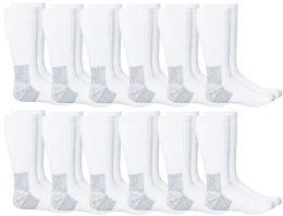 12 of Yacht & Smith Men's Heavy Duty Steel Toe Work Socks, White, Sock Size 10-13
