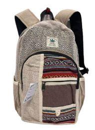 "5 Units of Himalayan Hemp Handmade Backpacks With Pockets - Backpacks 16"""