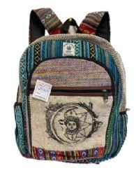 "5 Units of Himalayan Hemp Handmade Backpack With Sun Moon Design - Backpacks 16"""