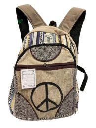 "5 Units of Himalayan Hemp Handmade Peace Sign Backpack - Backpacks 16"""