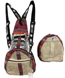 "5 Units of Himalayan Hemp Handmade Foldable Backpack - Backpacks 16"""