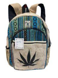 "5 Units of Himalayan Hemp Handmade Marijuana Leaf Graphic Backpack - Backpacks 16"""