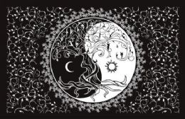 5 Units of Black and White Sun Moon Graphic Tapestry - Home Decor