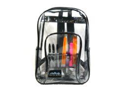 """24 Units of Clear Black Backpack - Backpacks 17"""""""