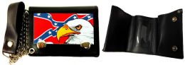12 Units of Trifold wallet Confederate Flag With Bald Eagle - Leather Wallets