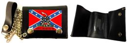 12 Units of Rebel Flag with Don't Tread On Me Snake Tri-fold Wallet - Leather Wallets