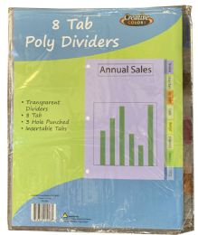 96 Units of Poly Divider 8 Tab - Dividers & Index Cards