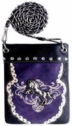 6 Units of Western Style Rhinestone Horse Studded Sling Bag Purple - Shoulder Bags & Messenger Bags